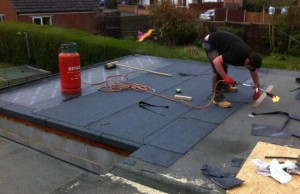 new felt flat roof on extension in wigston