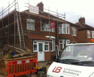 scaffold up ready for loft conversion